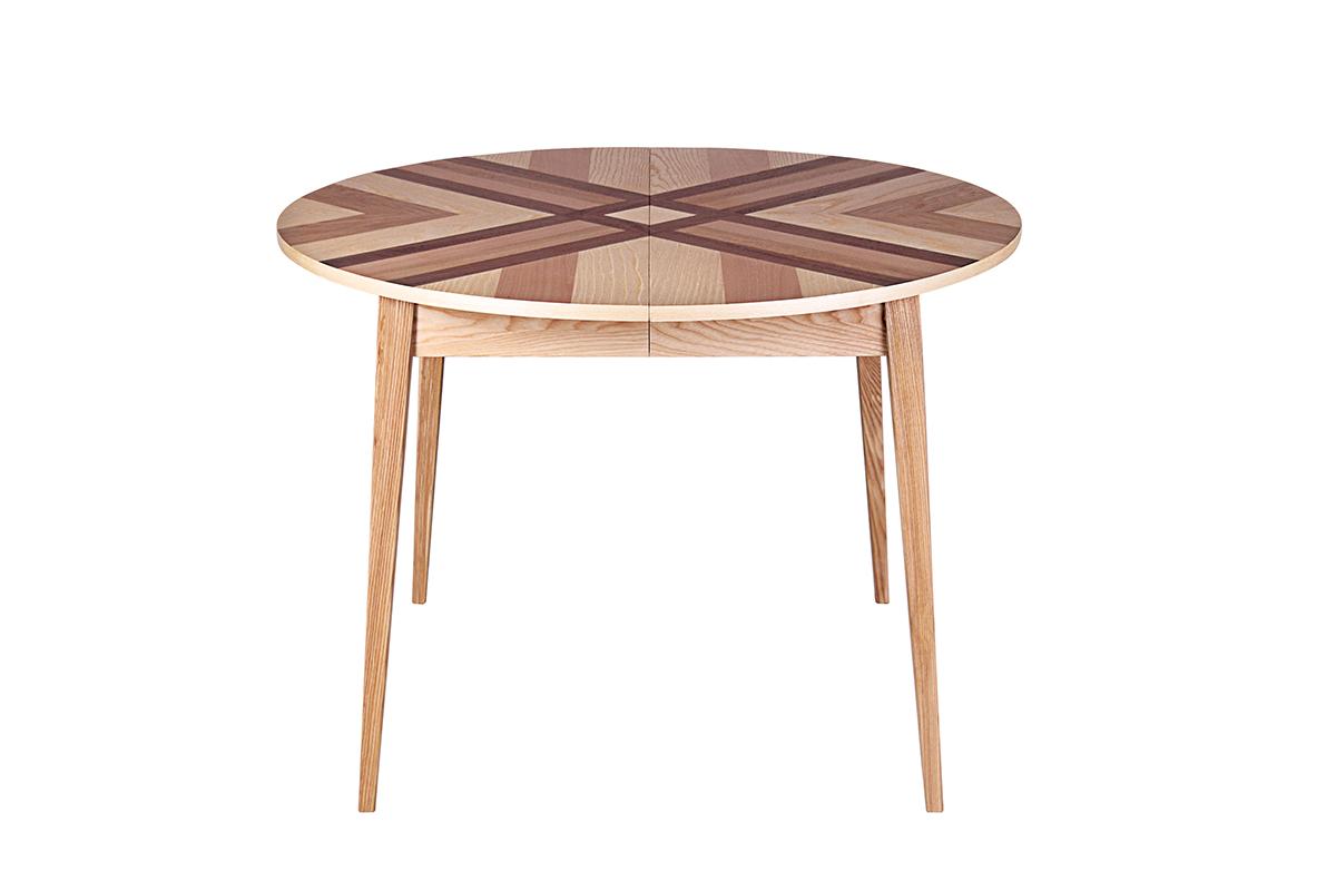 Stół Rozkładany Okrągły Puzzle Wood Paper Meble